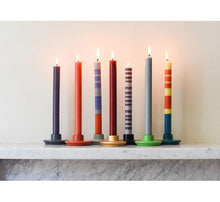Load image into Gallery viewer, British Colour Standard Striped Dinner Candle Pack of 4 - Old Rose, Indigo and Pompadour