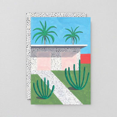 House and Palms Art Card