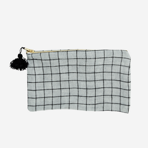 Checked Linen Purse with Tassel - Grey