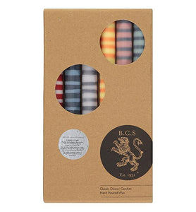 BRITISH COLOUR STANDARD - STRIPED Dinner Candles, 6 per pack