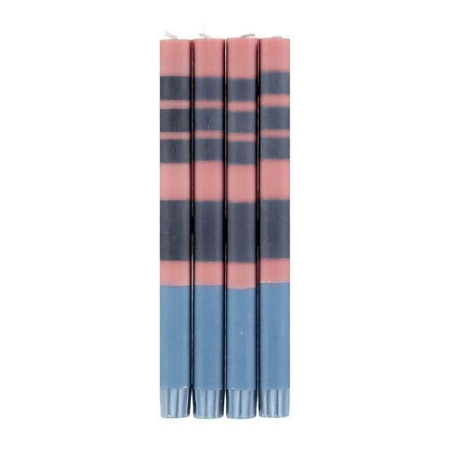 British Colour Standard Striped Dinner Candle Pack of 4 - Old Rose, Indigo and Pompadour