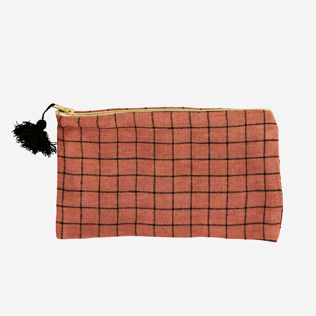 Checked Linen Purse with Tassel - Rust