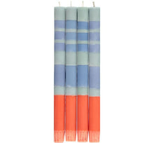 Load image into Gallery viewer, BRITISH COLOUR STANDARD - STRIPED Opaline, Pompadour & Rust Eco Dinner Candles, 4 per pack