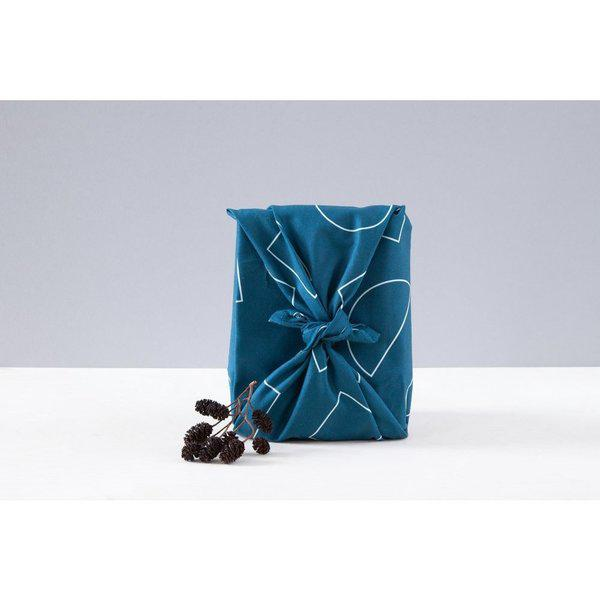 Luxury Cotton Gift Wrap - Indigo Shapes