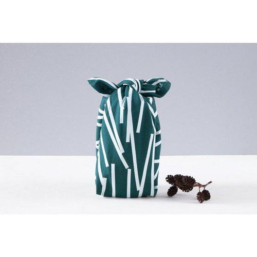 Luxury Cotton Gift Wrap - Forest Green Dash
