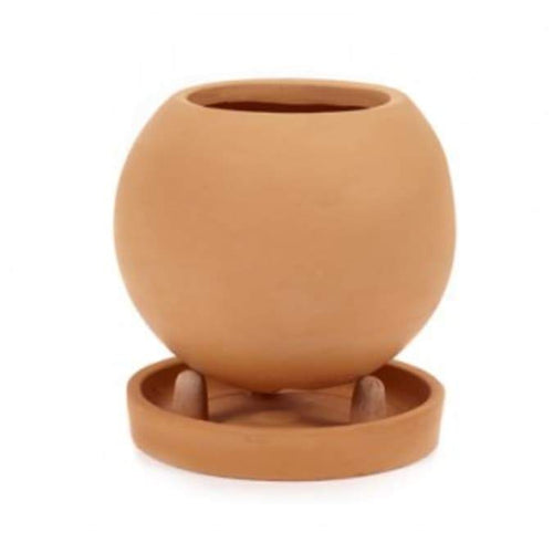Round Terracotta Standing Pot with Saucer