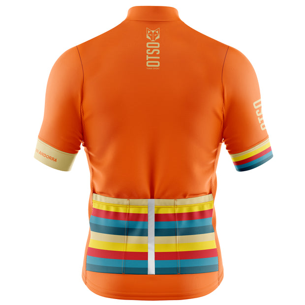 Cycling Jersey Manga Corta Hombre Stripes Orange