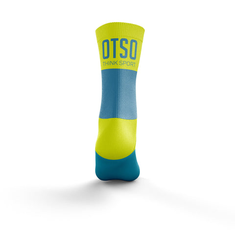 Calcetines Multideporte Medium Cut Light Blue / Fluo Yellow