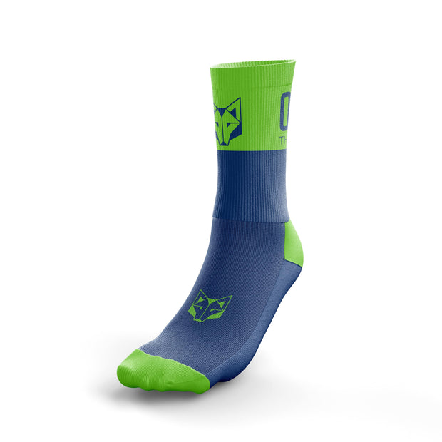 Calcetines Multideporte Medium Cut Electric Blue / Fluo Green