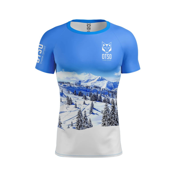 Men's Short Sleeve Shirt Snow Forest
