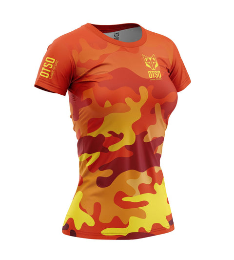 Women 's Short Sleeve Shirt Camó Orange