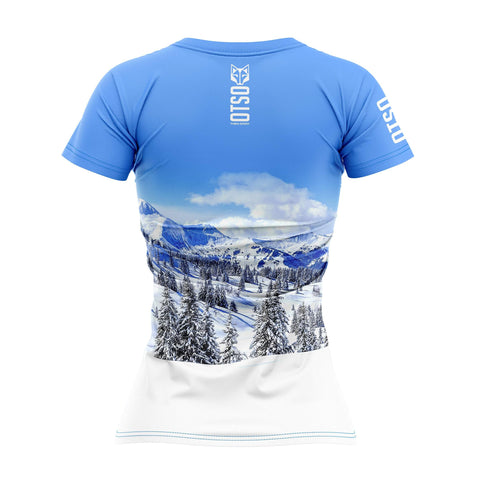 Women's Short Sleeve Shirt Snow Forest