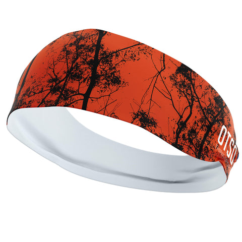 Headband Otso of 12 centimeters thick and black tree pattern on red background. The product is unisex and one size fits all