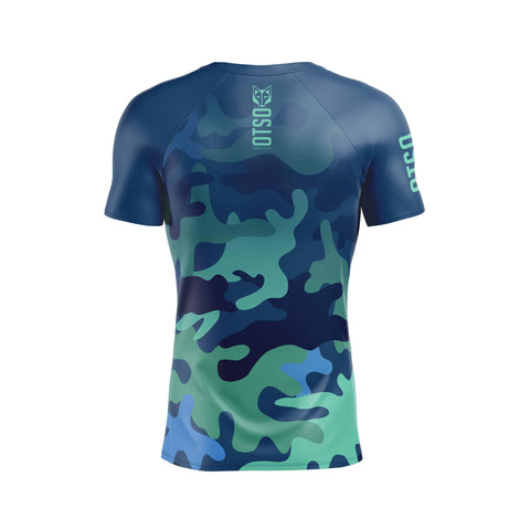 Short sleeve t-shirt for men from Otso brand with Blue Camo print. Rear photo