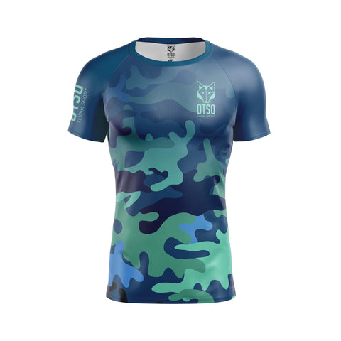 Short sleeve t-shirt for men from Otso brand with Blue Camo print. Front photo