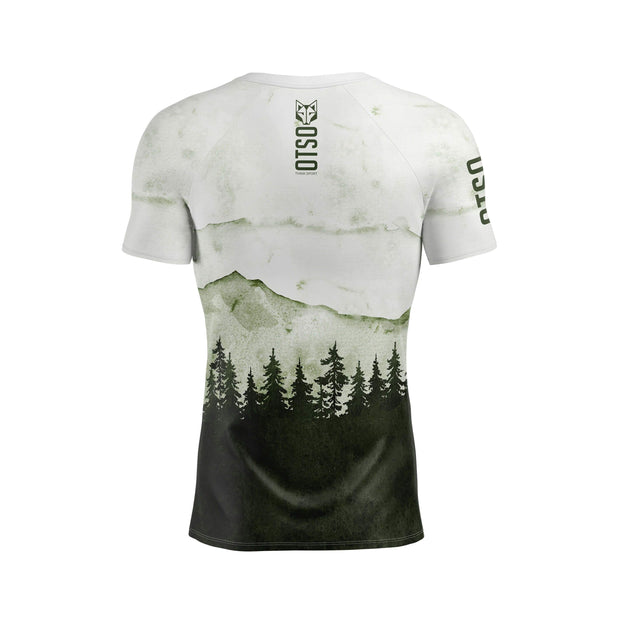 Short sleeve t-shirt for men from the Otso brand with Green Forest print. Rear photo