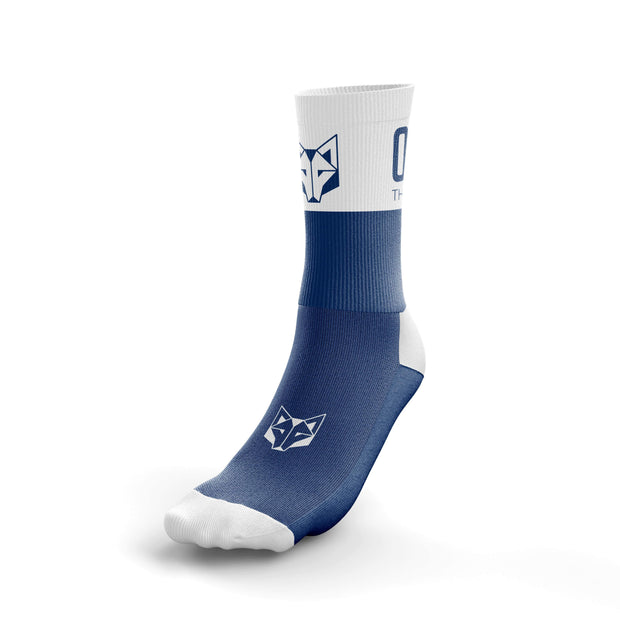 Half-height socks from the Otso brand, blue and white. Front photo
