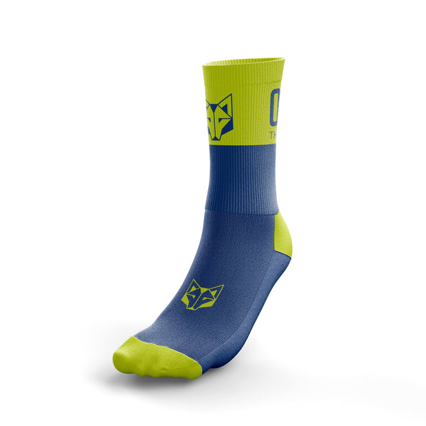 Calcetines Multideporte Medium Cut Electric Blue / Fluo Yellow