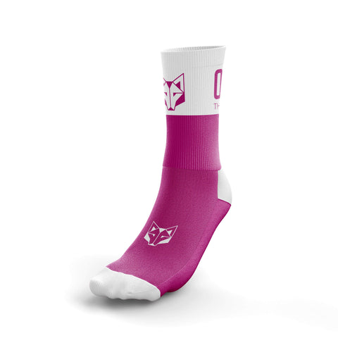 Otso half-height socks in pink and white. Front photo