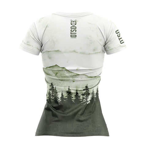 Short sleeve t-shirt for women from Otso brand with Green Forest print. Rear photo