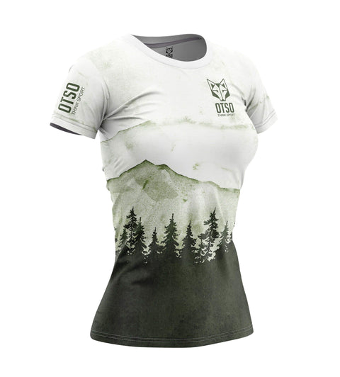 Short sleeve t-shirt for women from Otso brand with Green Forest print. Front photo