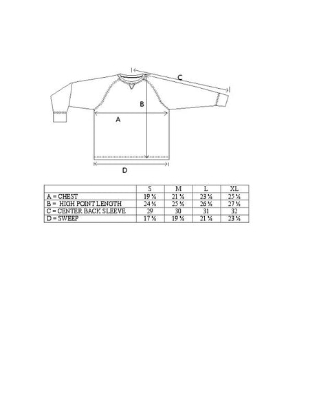 TK Smith jersey Sizing Chart