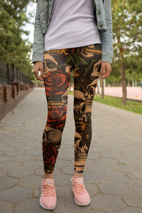 Skull with roses Leggings