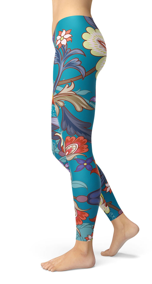 stylized flowers Leggings - US FITGIRLS