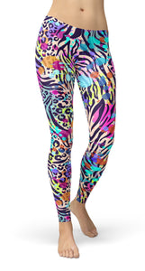 Animal Color Mix Print Leggings - US FITGIRLS