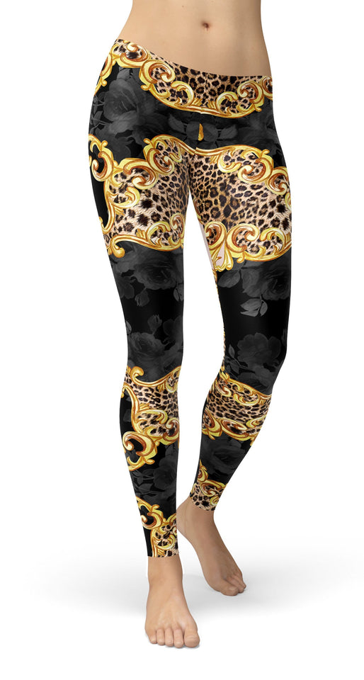 Leopard Chain belt gold baroque Leggings - US FITGIRLS