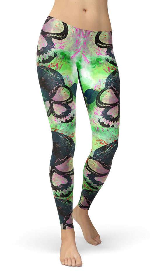 Grunge skulls and playing cards symbols Leggings - US FITGIRLS