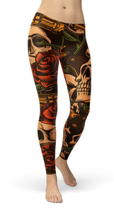 Skull with roses Leggings - US FITGIRLS