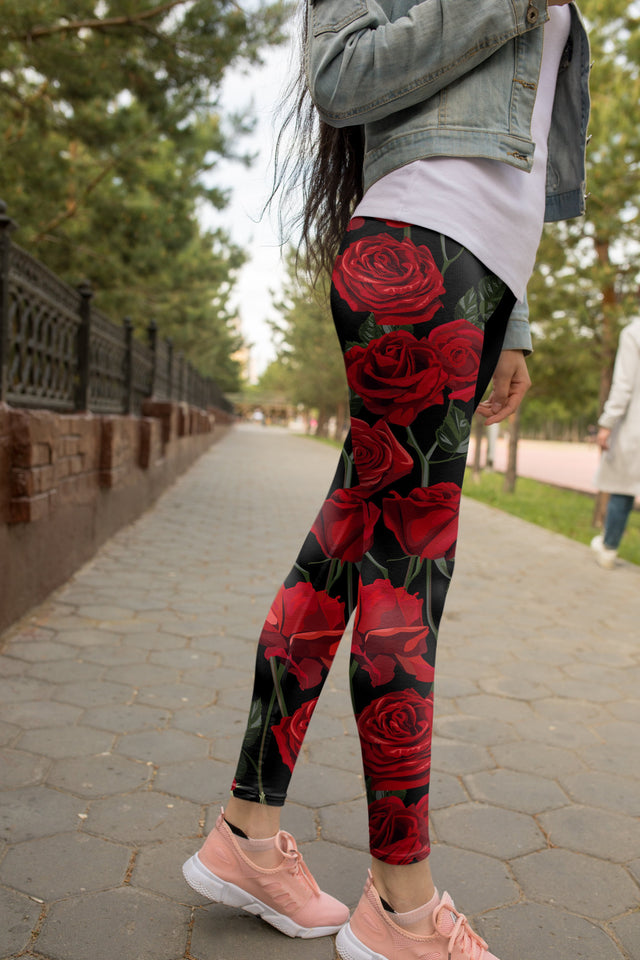 Roses Print Leggings - US FITGIRLS
