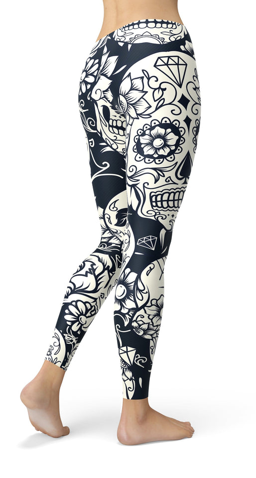 White Sugar Skull Leggings - US FITGIRLS
