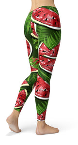 watermelons and tropical plants  Leggings - US FITGIRLS