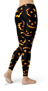 Halloween pumpkin smile Leggings - US FITGIRLS