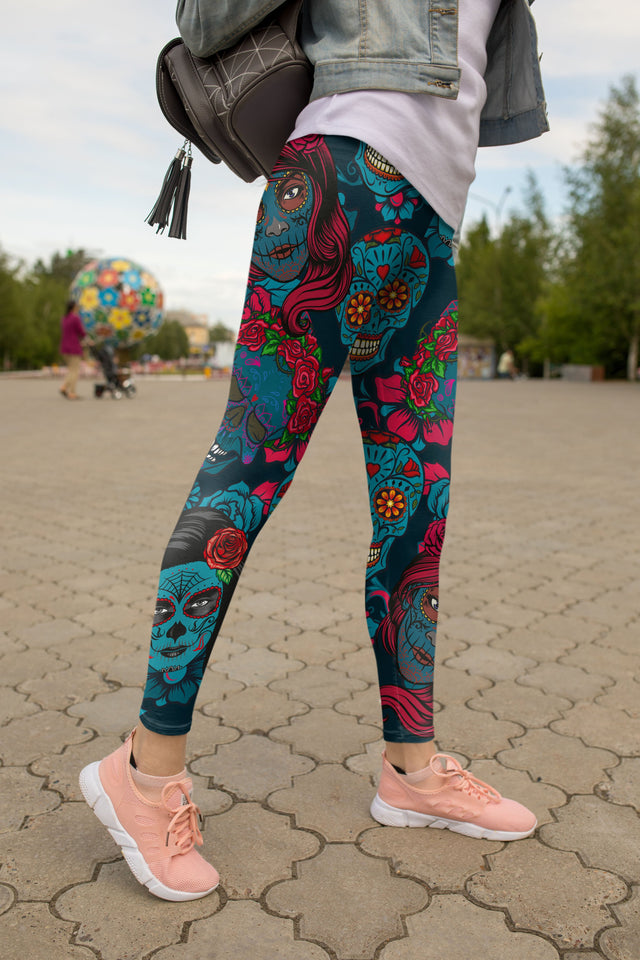 Sugar Skull Girl Leggings - US FITGIRLS