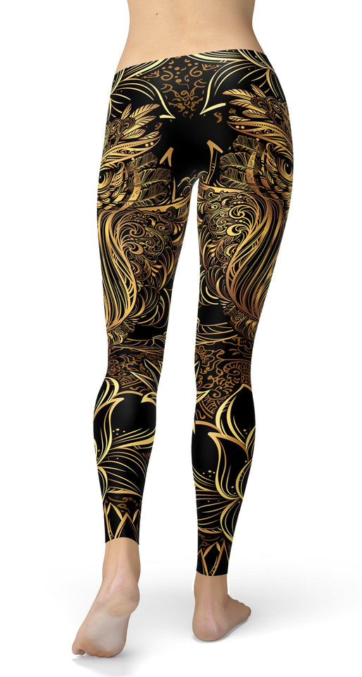 GOLDEN Lotus Owl Leggings - US FITGIRLS