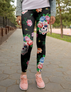 Flower Skulls Leggings - US FITGIRLS