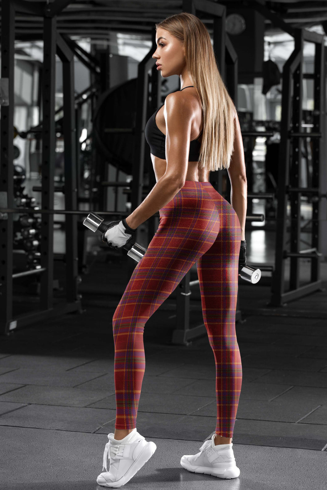 RED TARTAN LEGGINGS - US FITGIRLS