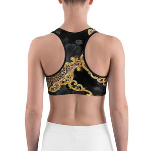 LEOPARD CHAIN BELT GOLD BAROQUE  Sports Bra - US FITGIRLS