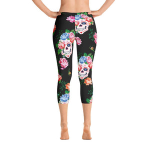 Flower Skulls Capri Leggings - US FITGIRLS
