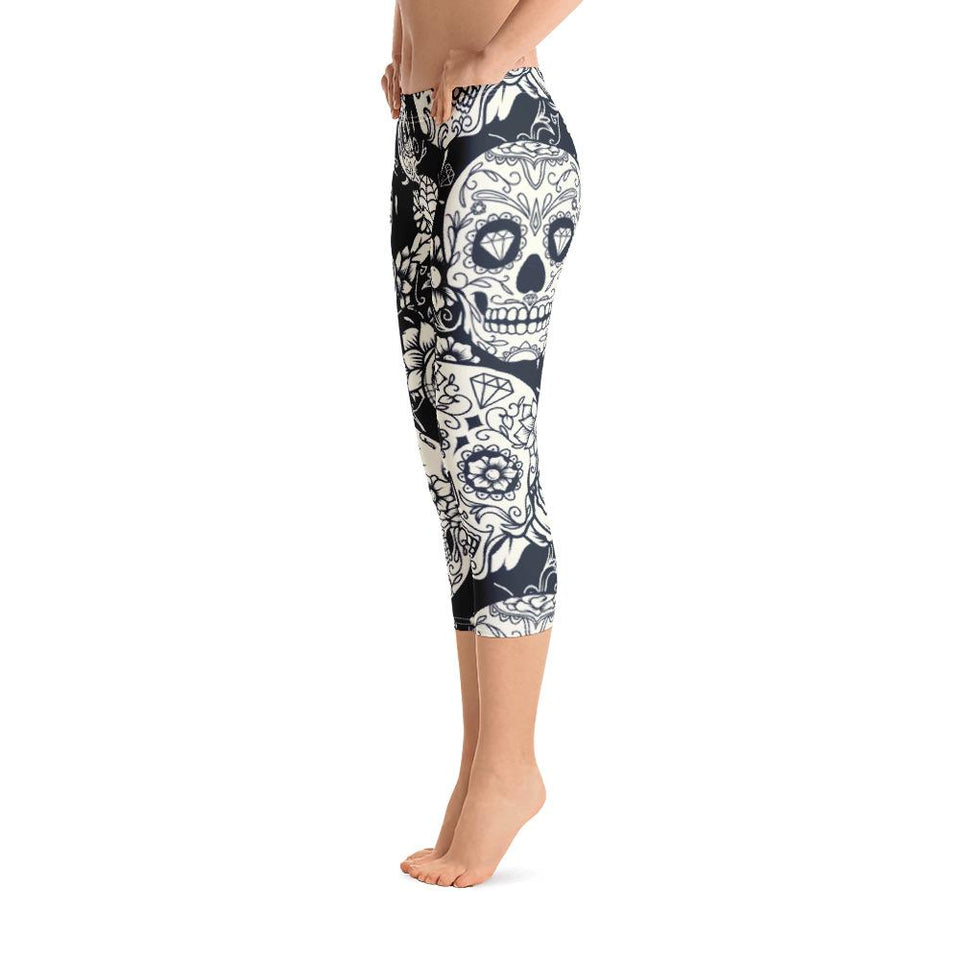 Sugar Skull White Capri Leggings - US FITGIRLS