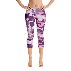 PINK CAMOUFLAGE LEGGINGS Capri Leggings - US FITGIRLS