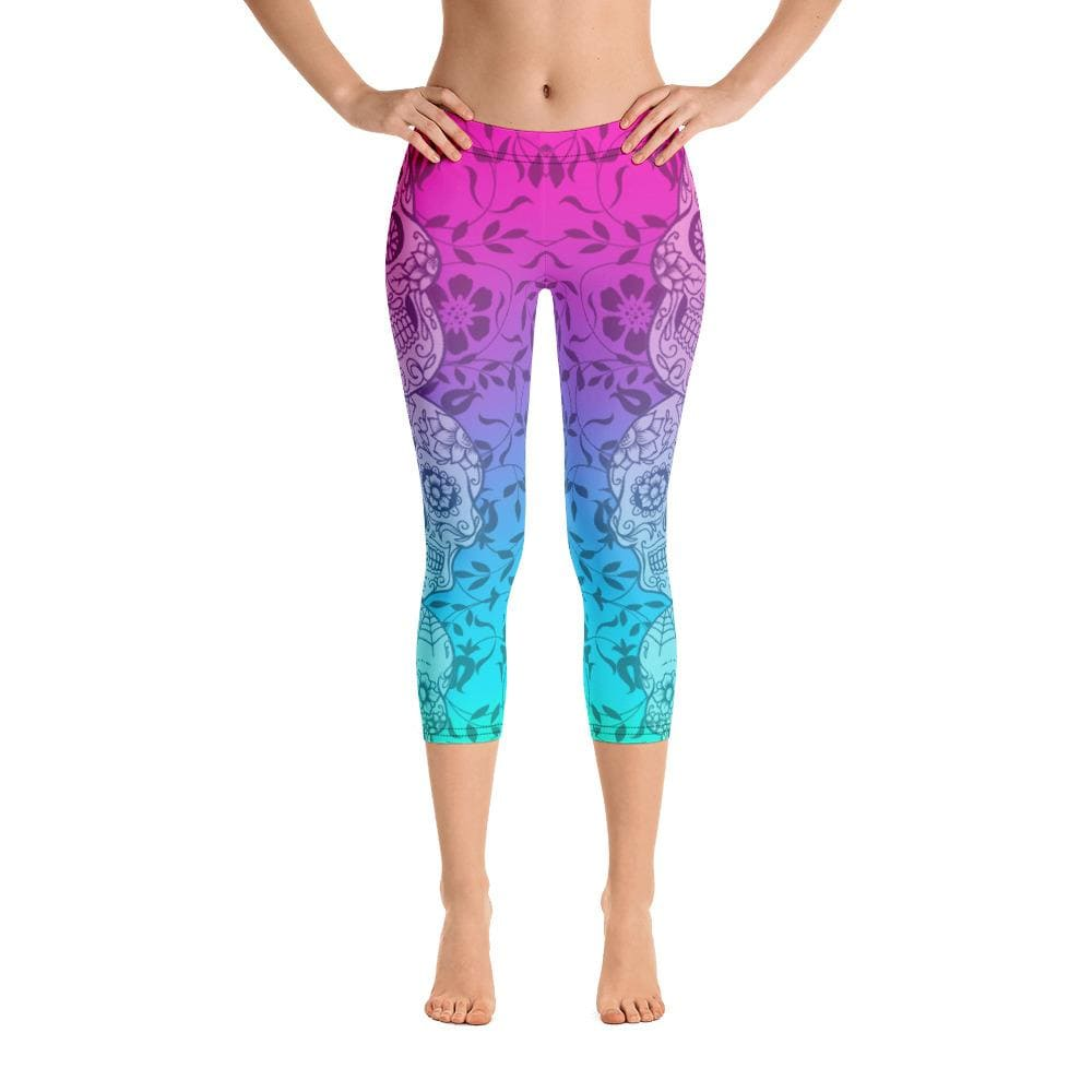 Sugar Skull Ombre Capri Leggings - US FITGIRLS