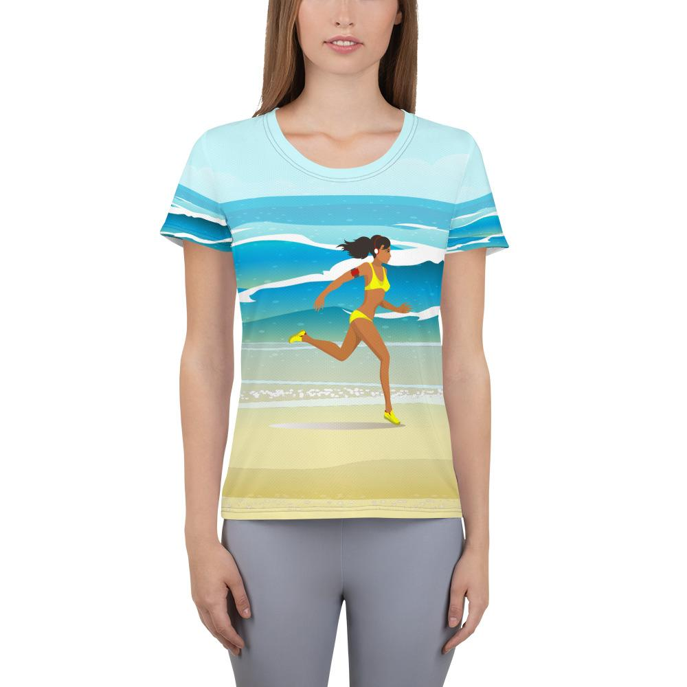RUNNING ON THE BEACH Athletic T-shirt - US FITGIRLS