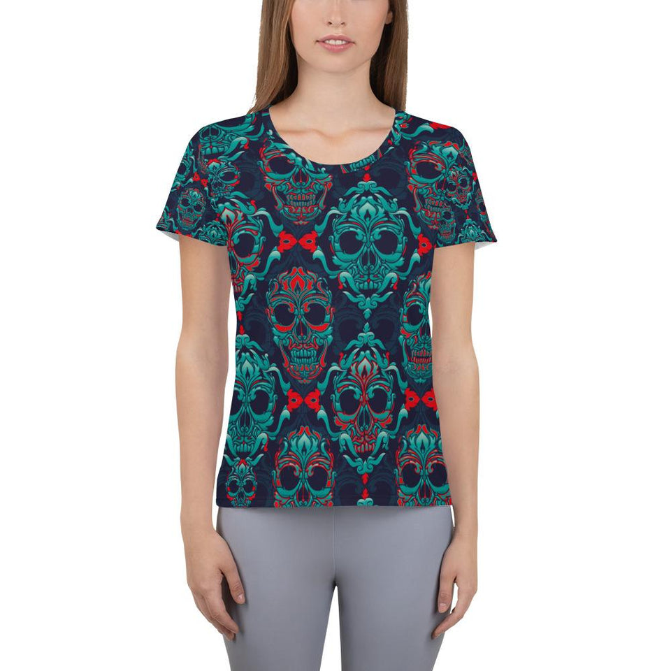 Ornamental Sugar Skull Athletic T-shirt - US FITGIRLS