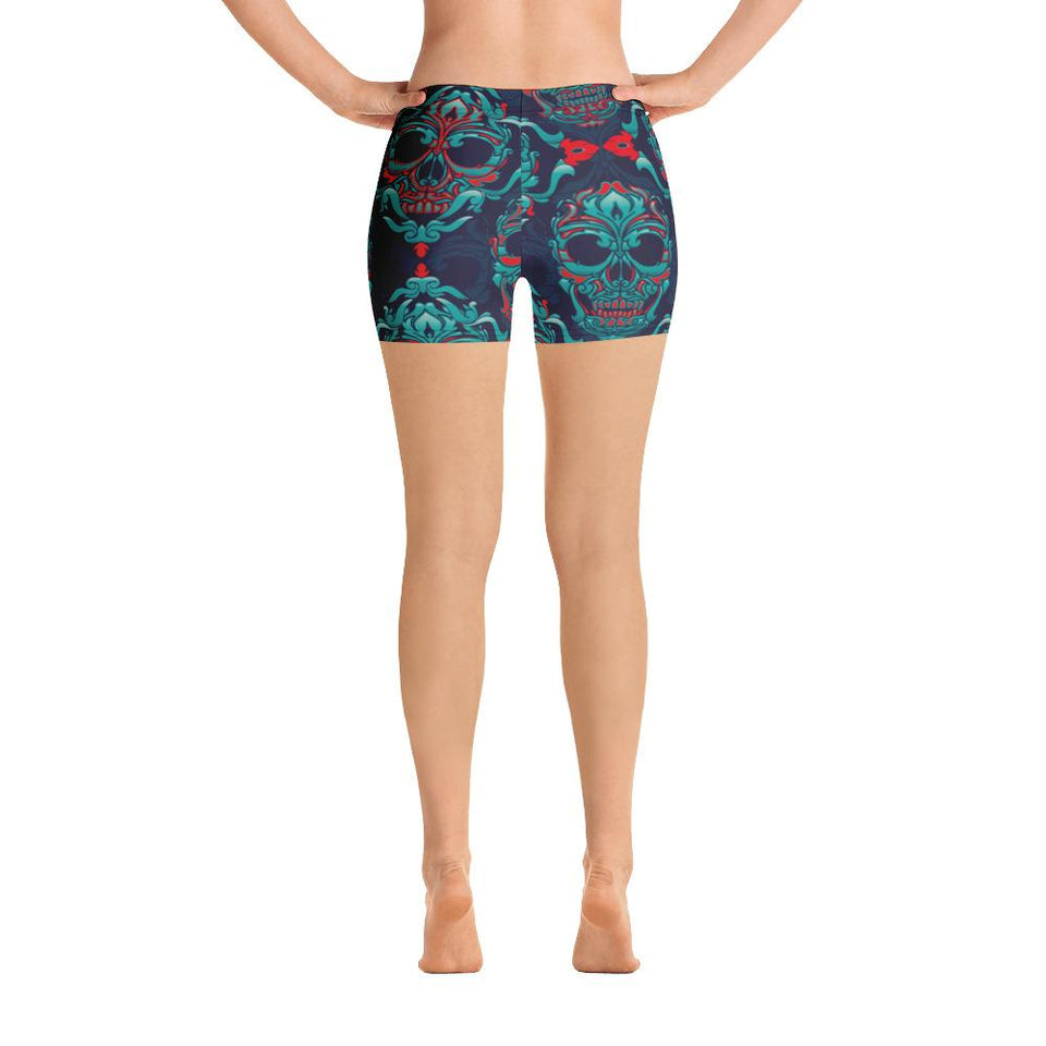 Ornamental Sugar Skull Shorts - US FITGIRLS