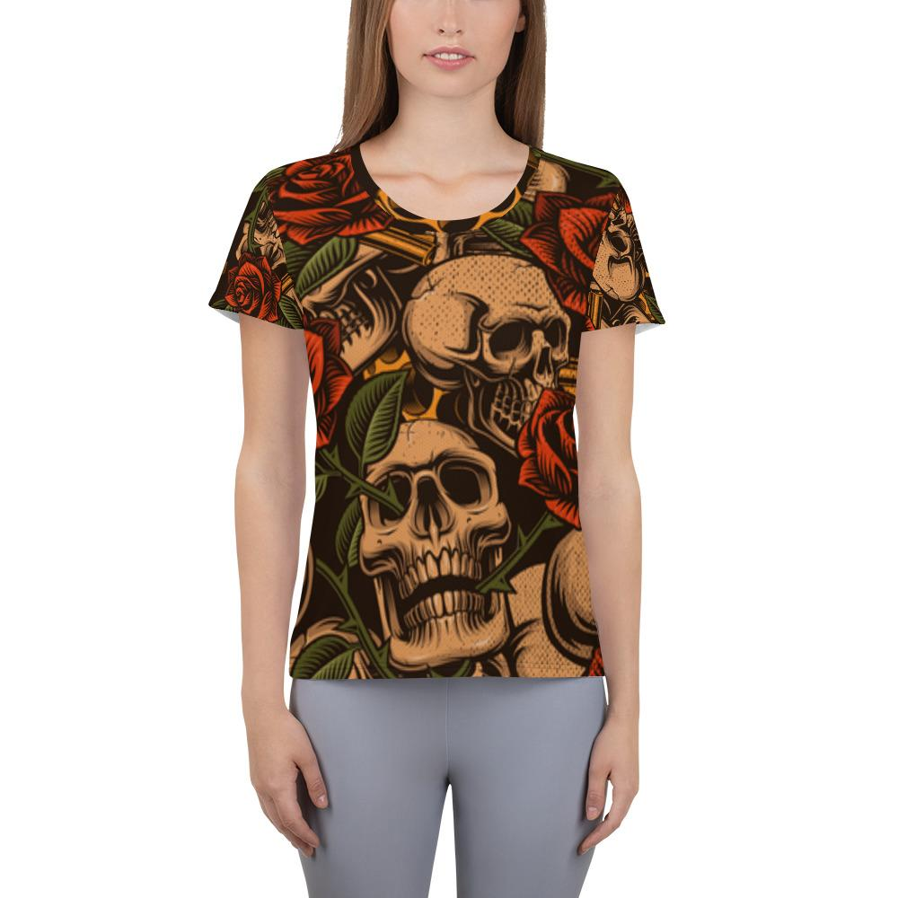 Skull with roses Athletic T-shirt - US FITGIRLS