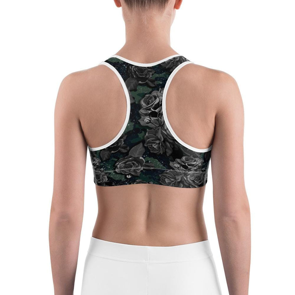 CAMOUFLAGE WITH FLOWER Sports Bra - US FITGIRLS